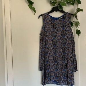 Printed Shoulder Cut-Out Dress